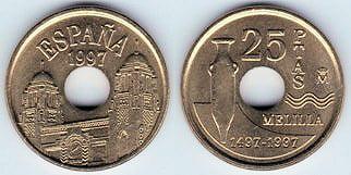 25 Pesetas 1997 Melilla