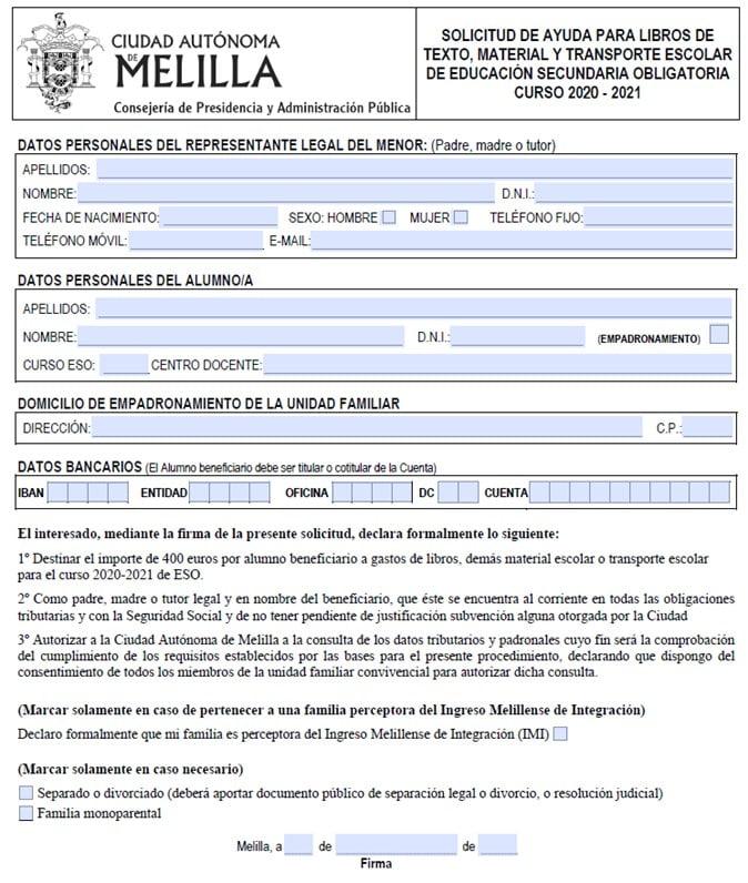 Beca De 400 Euros Melilla 2020