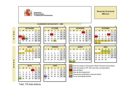 Calendario Escolar Melilla 2019