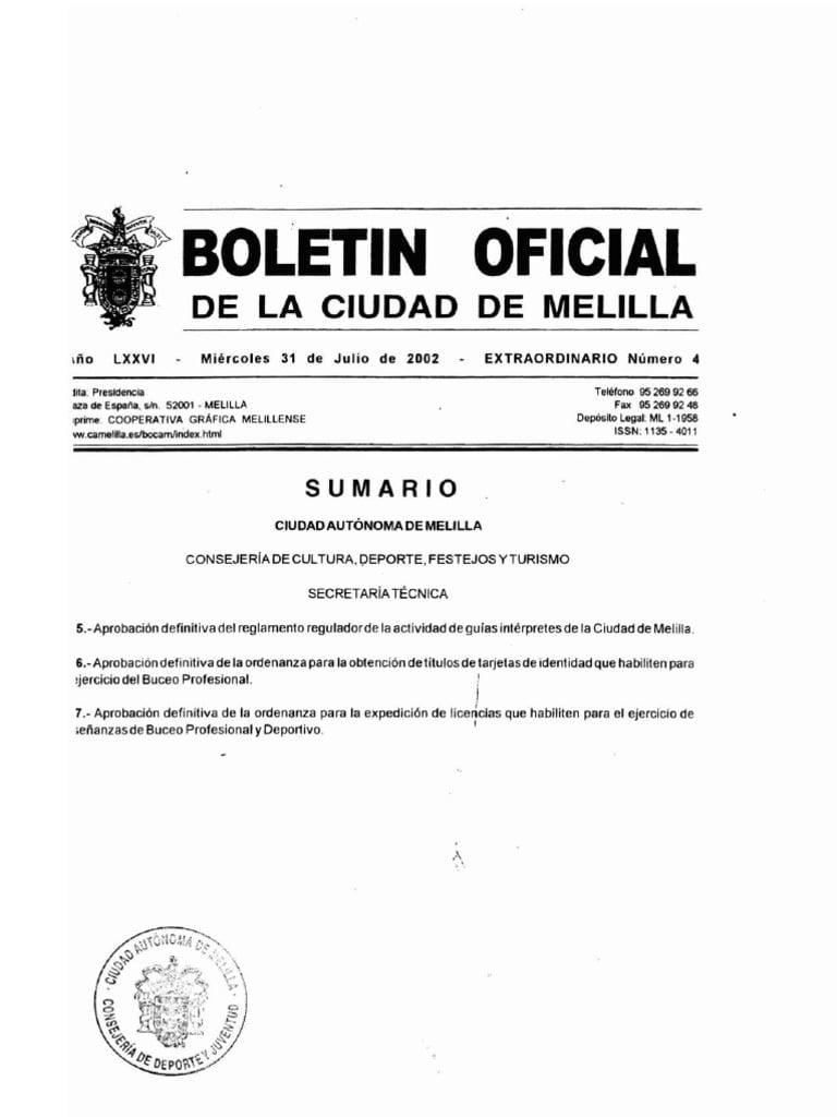 Licencia Pesca Submarina Melilla