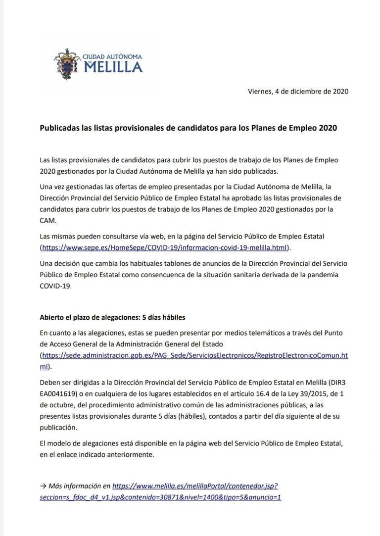 Listado Planes De Empleo Melilla