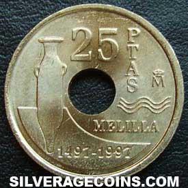 Moneda 25 Pesetas Agujero Melilla