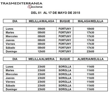 Precio Ferry Malaga Melilla
